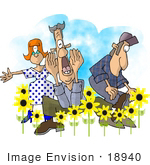 #18940 People In A Patch Of Yellow Daisy Flowers In The Spring Clipart