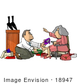 #18947 Shoe Salesman Helping A Senior Woman Try On Shoes In A Shoe Store Clipart