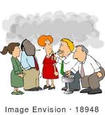 #18948 Group Of Employees Chatting And Standing In Smoke While Taking A Cigarette Break Clipart