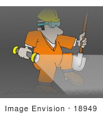 #18949 Male Sewer Worker With A Shovel And Flashlight Clipart
