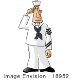 #18952 Caucasian Navy Sailor Man Saluting Clipart by DJArt