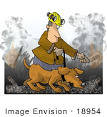 #18954 Handler Walking A Sniffing Search Dog In The Rubble Of A Burned Building Clipart