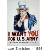 #1896 Uncle Sam - I Want You For US Army by JVPD