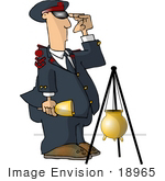 #18965 Salvation Army Volunteer Man Ringing A Bell Standing By A Donation Container Clipart