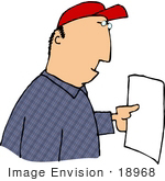 #18968 Caucasian Man Holding A Blank Piece Of White Paper Clipart