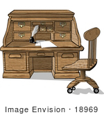 #18969 Wooden Roll Top Desk With Papers, a Feather Quill and Ink Clipart by DJArt