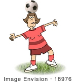#18976 Talented Female Soccer Player Balancing A Soccer Ball On Her Head Clipart