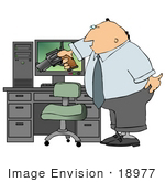 #18977 Angry Business Man Aiming a Pistil at a Computer Clipart by DJArt