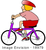 #18979 Blond Woman In Pink And Red Riding A Purple Bike Clipart