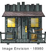 #18980 Old Fashioned Building or Shed With a Log and Axe Clipart by DJArt