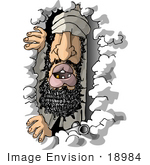 #18984 Terrorist Peeking Out Of A Cave Clipart