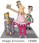 #18986 Male Dancer in a Ballerina Costume, Directing a Dance Class at a Gym Clipart by DJArt