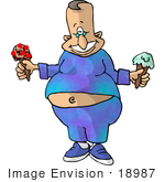 #18987 Chubby Man Baring His Midriff Holding Two Ice Cream Cones Clipart