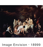 #18999 Photo of a Group of Nude Women Bathing, Bath of the Nymphs by Francesco Hayez by JVPD