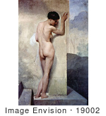 #19002 Photo of a Nude Woman From Behind, Against a Stone Wall by Francesco Hayez by JVPD