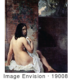 #19008 Photo Of A Beautiful Nude Young Female Bather Draped In A Cloth Looking Back Over Her Shoulder
