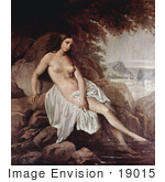 #19015 Photo of a Nude Woman Reclined on a Rock, Dipping Her Feet in Water, by Francesco Hayez by JVPD