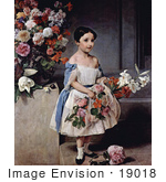 #19018 Photo Of Countess Antonietta Negroni Prati Morosini As A Girl Holding Flowers