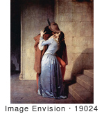 #19024 Photo of a Man Passionately Kissing a Woman at the Base of a Staircase, The Kiss, by Francesco Hayez by JVPD