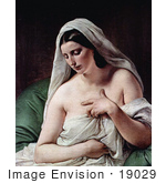 #19029 Photo of Odalisque, Nude and Draped in White Cloths by Francesco Hayez by JVPD