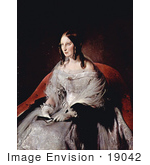 #19042 Photo Of The Princess Of Sant Antimo In A Gown And Gloves Holding A Closed Fan By Francesco Hayez