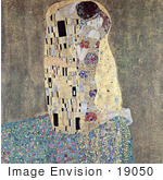 #19050 Photo of a Man Kissing a Woman on the Cheek, The Kiss by Gustav Klimt by JVPD