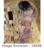 #19058 Photo Of A Closeup Detail Of A Man Kissing A Woman On The Cheek The Kiss By Gustav Klimt