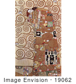 #19062 Photo of a Woman and Man Embracing, Surrounded by Spirals, Fulfilment or The Embrace by Gustav Klimt by JVPD