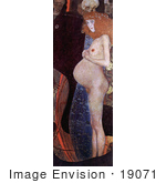#19071 Photo of a Nude Red Haired Pregnant Woman in Profile, Hope I by Gustav Klimt by JVPD