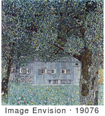 #19076 Photo Of Oberosterreichisches Bauernhaus Building Through Trees By Gustav Klimt
