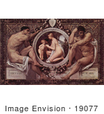 #19077 Photo Of Nude Men Framing A Scene Of A Nude Woman With Children Idyll By Gustav Klimt
