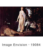 #19084 Photo Of A Nude Woman By A Sleeping Lion And Birds By Gustav Klimt