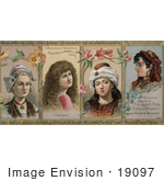 #19097 Photo of Holland, American, Persian and Spanish Women on a Vintage Advertisement For Hair Tonic by JVPD