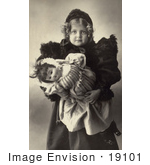 #19101 Photo of a Little Girl Holding Her Doll Toy, 1898 by JVPD