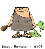 #19106 Cave Woman With A Club And Snake Clipart
