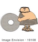 #19108 Cave Man With A Stone Wheel Invention Clipart