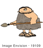 #19109 Cave Man Holding a Spear Weapon Clipart by DJArt