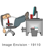 #19110 Business Employee Man Being Lazy Slouching In His Chair With His Feet Up On His Desk At The Office Clipart