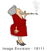 #19111 Elderly Woman With Gray Hair Smoking A Cigarette On A Long Filter Holder Clipart