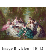 #19112 Group Of Women In Gowns Sitting In The Woods