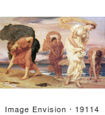 #19114 Photo of Greek Girls Picking up Pebbles by the Sea by Frederic Lord Leighton by JVPD