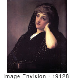 #19128 Photo Of A Woman In Black Reminiscing Memories By Frederic Lord Leighton