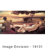 #19131 Photo of Women Watching a Man Playing a Flute, Idyll by Frederic Lord Leighton by JVPD