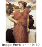 #19132 Photo Of A Woman Looking Over Her Shoulder At The Fountain By Frederic Lord Leighton