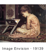 #19139 Photo of a Girl Sitting on a Carpet, Reading a Book at a Reading Desk by Frederic Lord Leighton by JVPD
