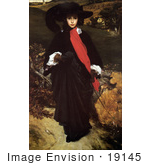 #19145 Photo Of A Woman In Black And Red Walking Outdoors May Sartoris By Frederic Lord Leighton