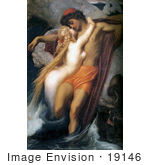 #19146 Photo of a Mermaid Kissing a Man, the Fisherman and the Syren by Frederic Lord Leighton by JVPD