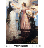 #19151 Photo of a Girl in a Pink Dress Feeding Peacocks by Frederic Lord Leighton by JVPD