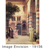 #19156 Photo Of Women And Girl Trying To Catch Apples From An Apple Tree In A Courtyard Damascus: Jew'S Quarter By Frederic Lord Leighton