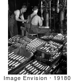#19180 Photo of Men Working in an Aluminum Factory, Boring Holes in Armour by JVPD